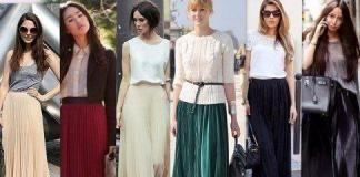 Плиссированная юбка в пол с чем носить