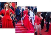 Рlus-size модель Юлия Рыбакова потеряла юбку в Каннах