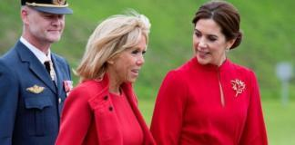Ladies in red: принцесса Дании и Бриджит Макрон выбрали похожие наряды для встречи (ГОЛОСОВАНИЕ)