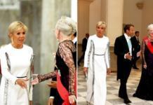 Бриджит Макрон в белом платье Louis Vuitton покорила элегантностью на ужине с королевой Маргрете